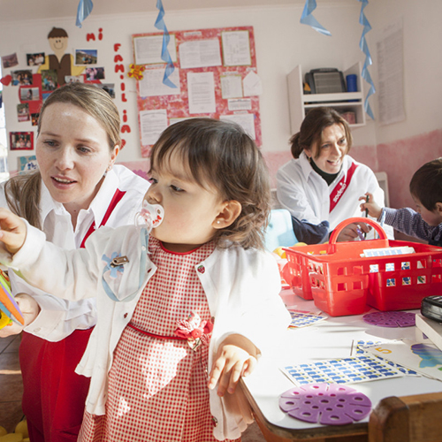 nursery nurses caring for children