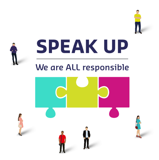 Speak Up logo with illustration of people around it