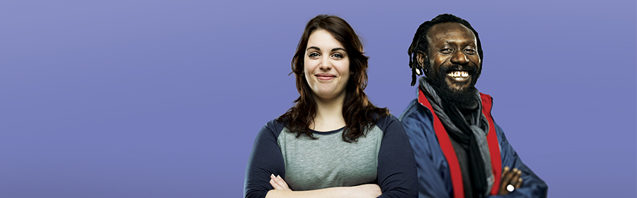Man and woman in front of a purple background