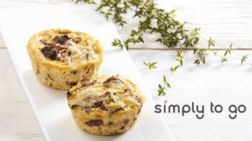 Mushroom quiches and Simply to go logo