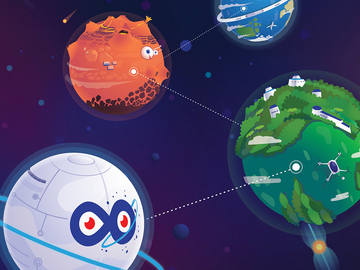 Illustration of digital planets